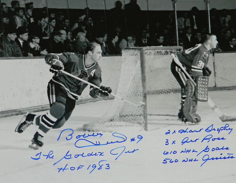 Bobby Hull Signed Chicago Blackhawks B&W Action STAT 16x20 Photo w/6-Inscriptions PSM-Powers Sports Memorabilia