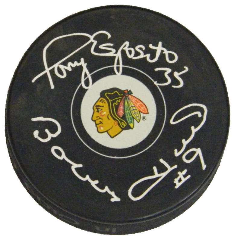 Bobby Hull & Tony Esposito Dual Signed Chicago Blackhawks Logo Hockey Puck PSM-Powers Sports Memorabilia