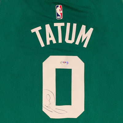 Jayson Tatum Autographed Boston Celtics Signed Nike Swingman Green Basketball Jersey PSA DNA COA 1-Powers Sports Memorabilia