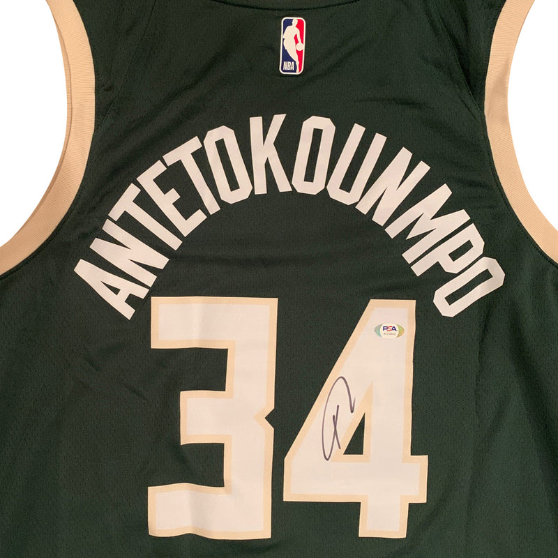 Giannis Antetokounmpo Autographed Milwaukee Bucks Signed Nike Swingman Green Basketball Jersey PSA DNA COA-Powers Sports Memorabilia