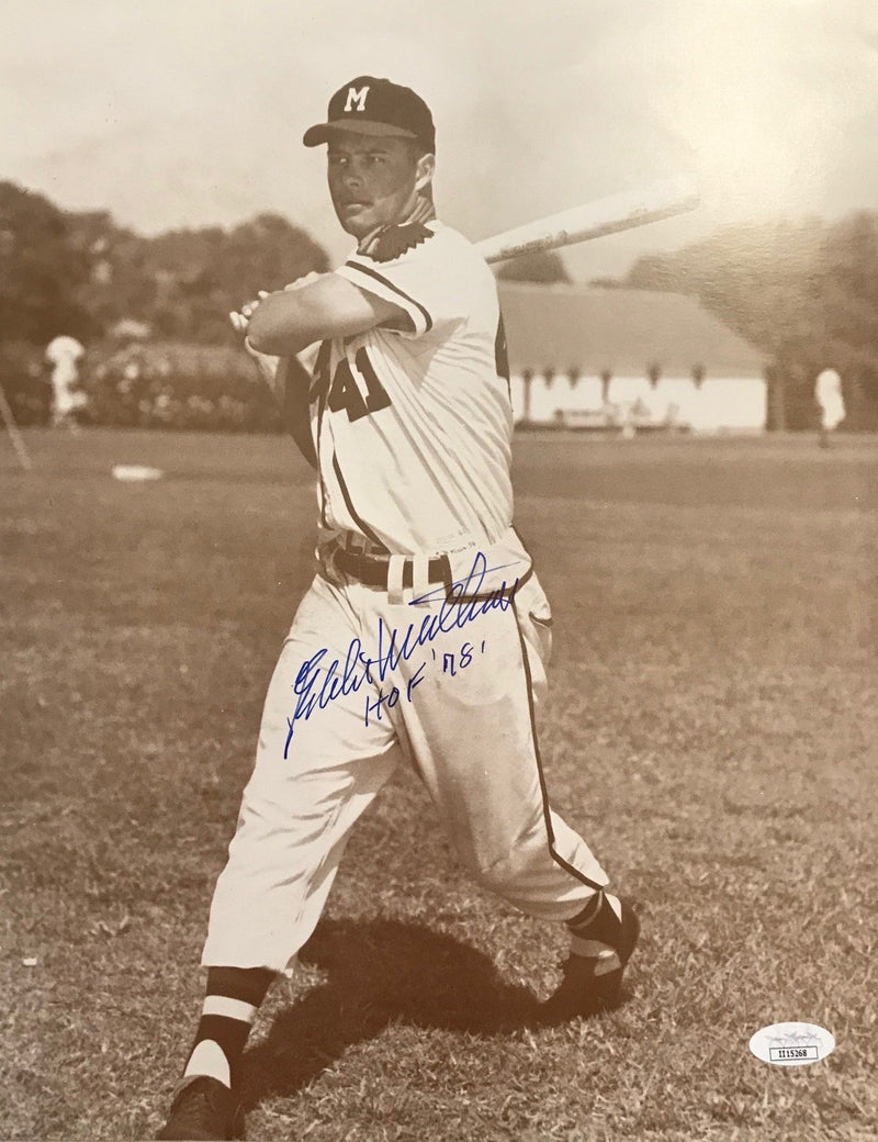 "Eddie Mathews ""HOF 78"" Autographed 11x14 Photo (JSA) PSM-Powers Sports Memorabilia"