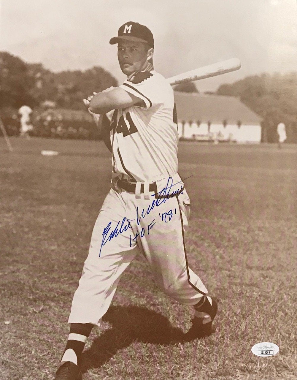 "Eddie Mathews ""HOF 78"" Signed 11x14 Photo (JSA) PSM-Powers Sports Memorabilia"