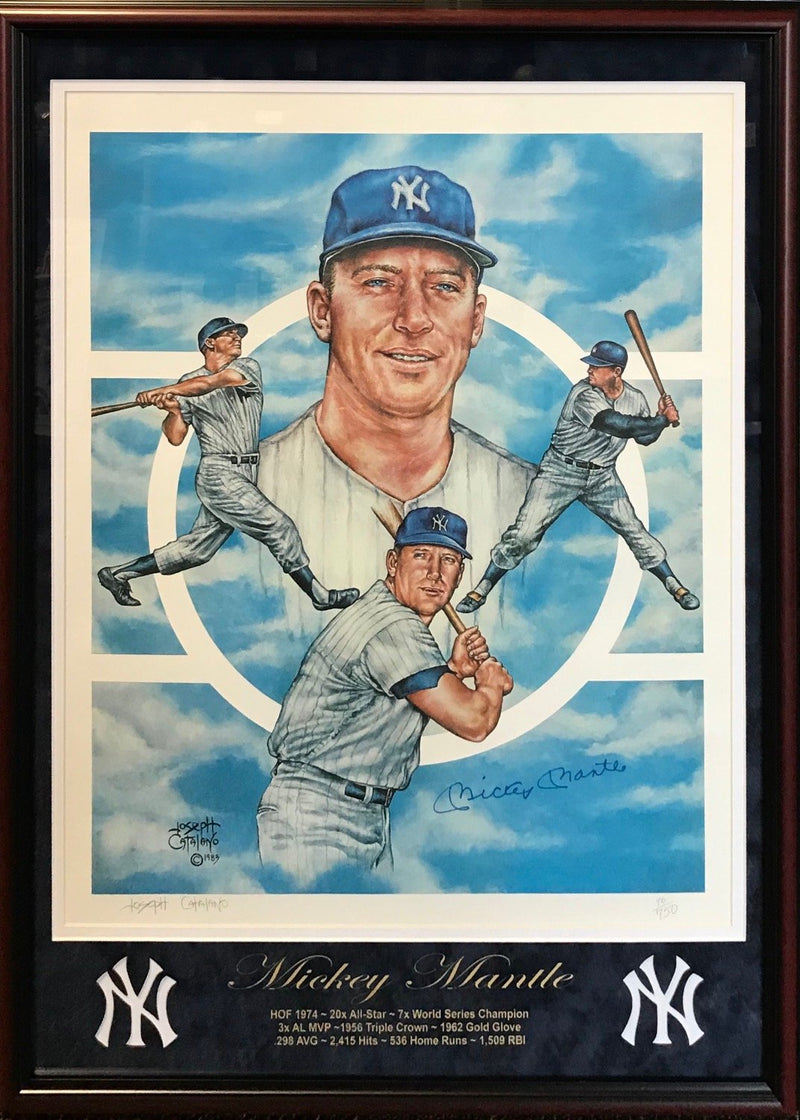 Mickey Mantle Autographed Framed 24x34 Joseph Catalano Lithograph PSM-Powers Sports Memorabilia