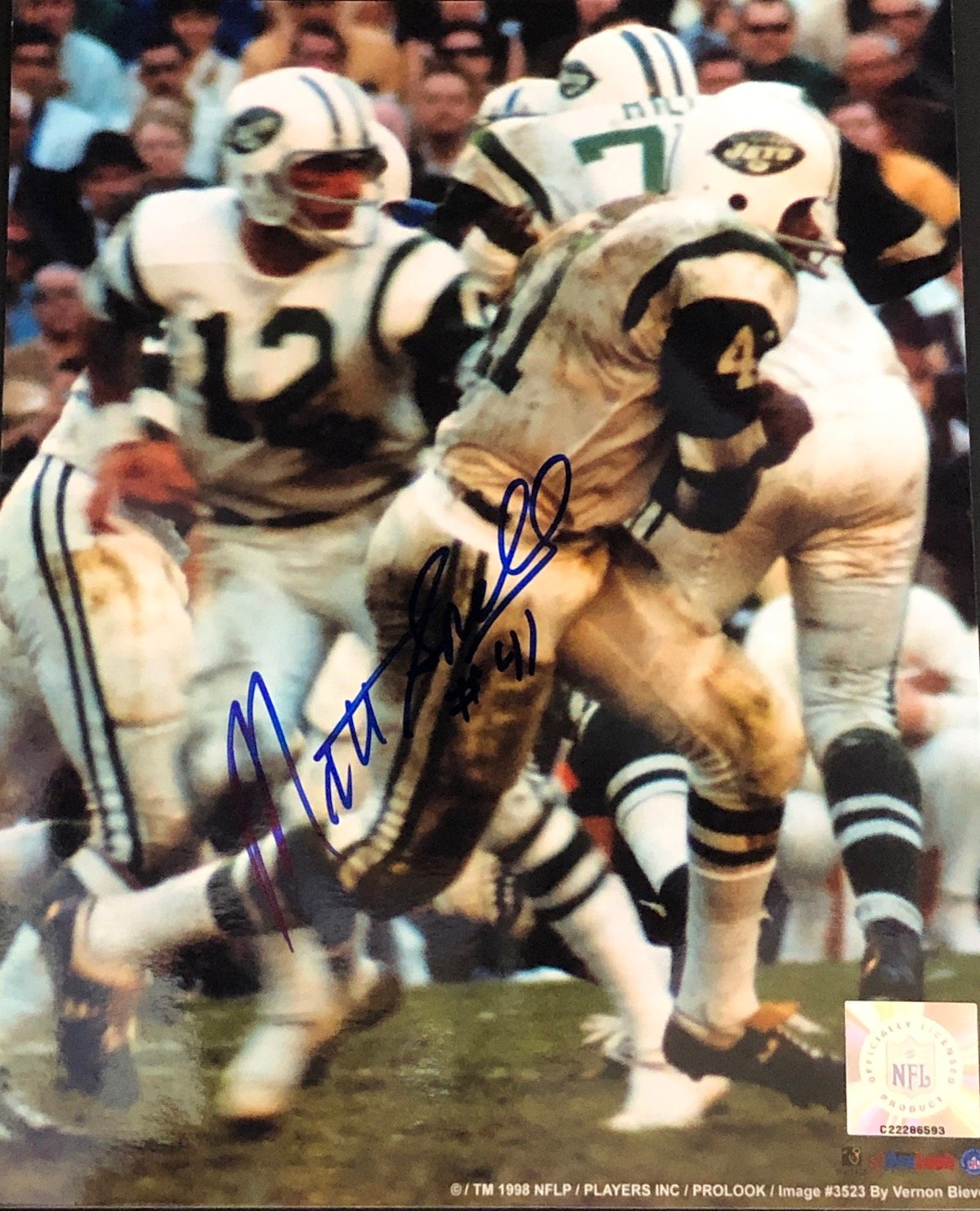 Matt Snell Autographed / Signed 8x10 New York Jets Photo PSM-Powers Sports Memorabilia