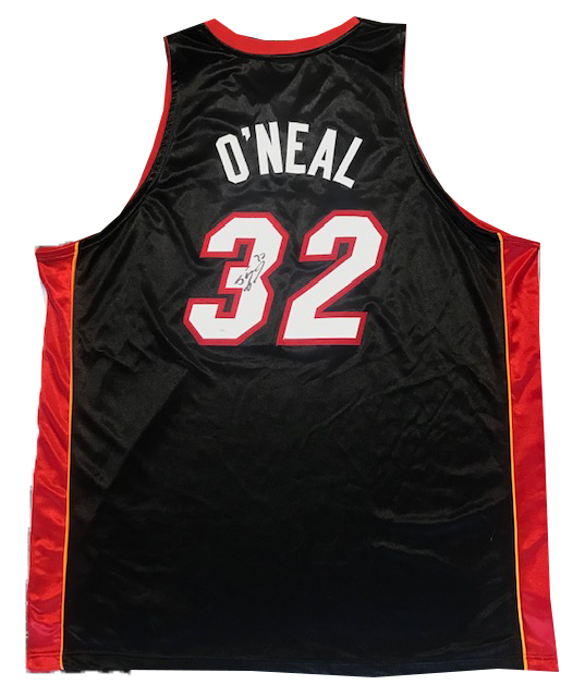 Shaquille O'Neal Autographed Authentic Black Miami Heat Jersey (JSA) PSM-Powers Sports Memorabilia