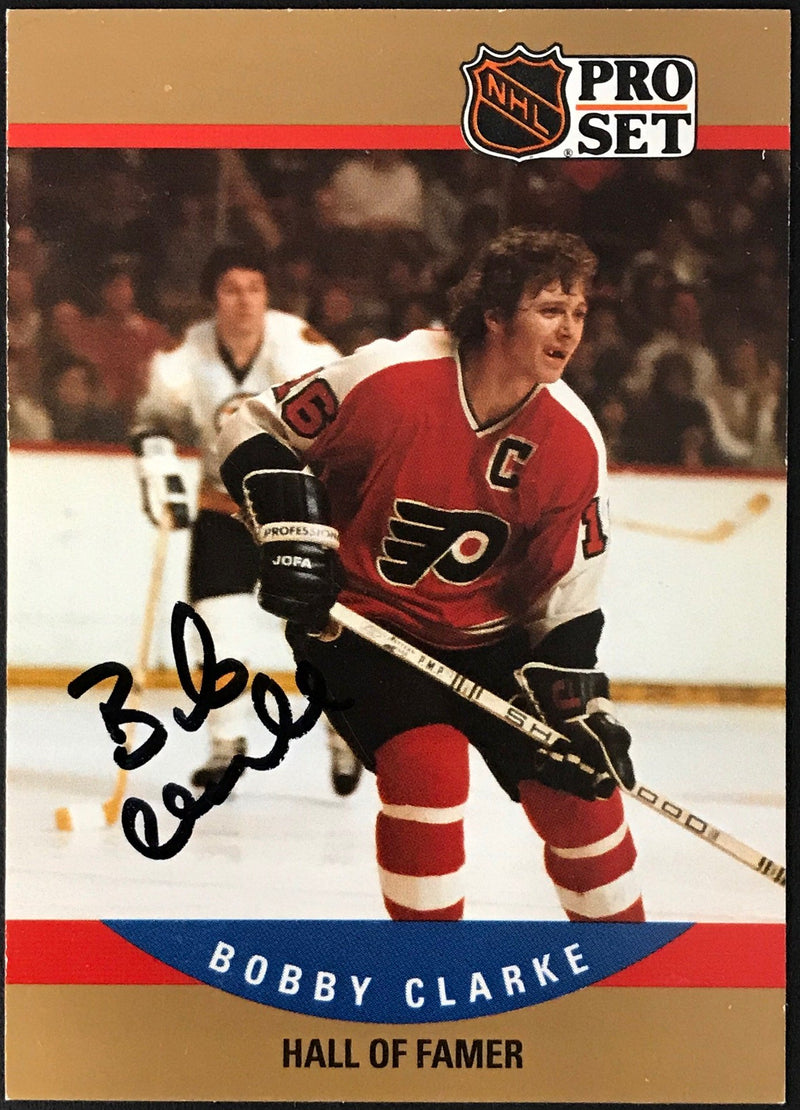 Bobby Clarke Autographed 1990 Pro Set Card #657 Philadelphia Flyers PSM-Powers Sports Memorabilia