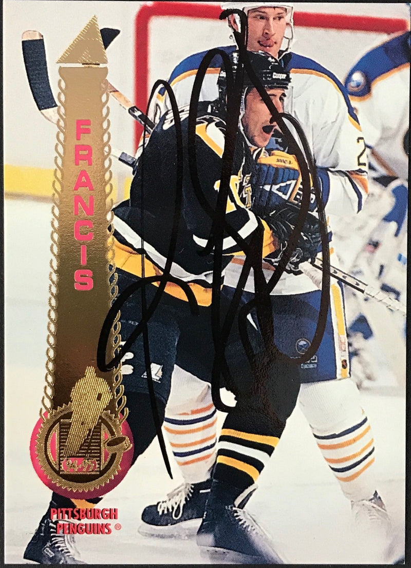 Ron Francis Autographed 1994-95 Pinnacle Card # 72 Pittsburgh Penguins PSM-Powers Sports Memorabilia