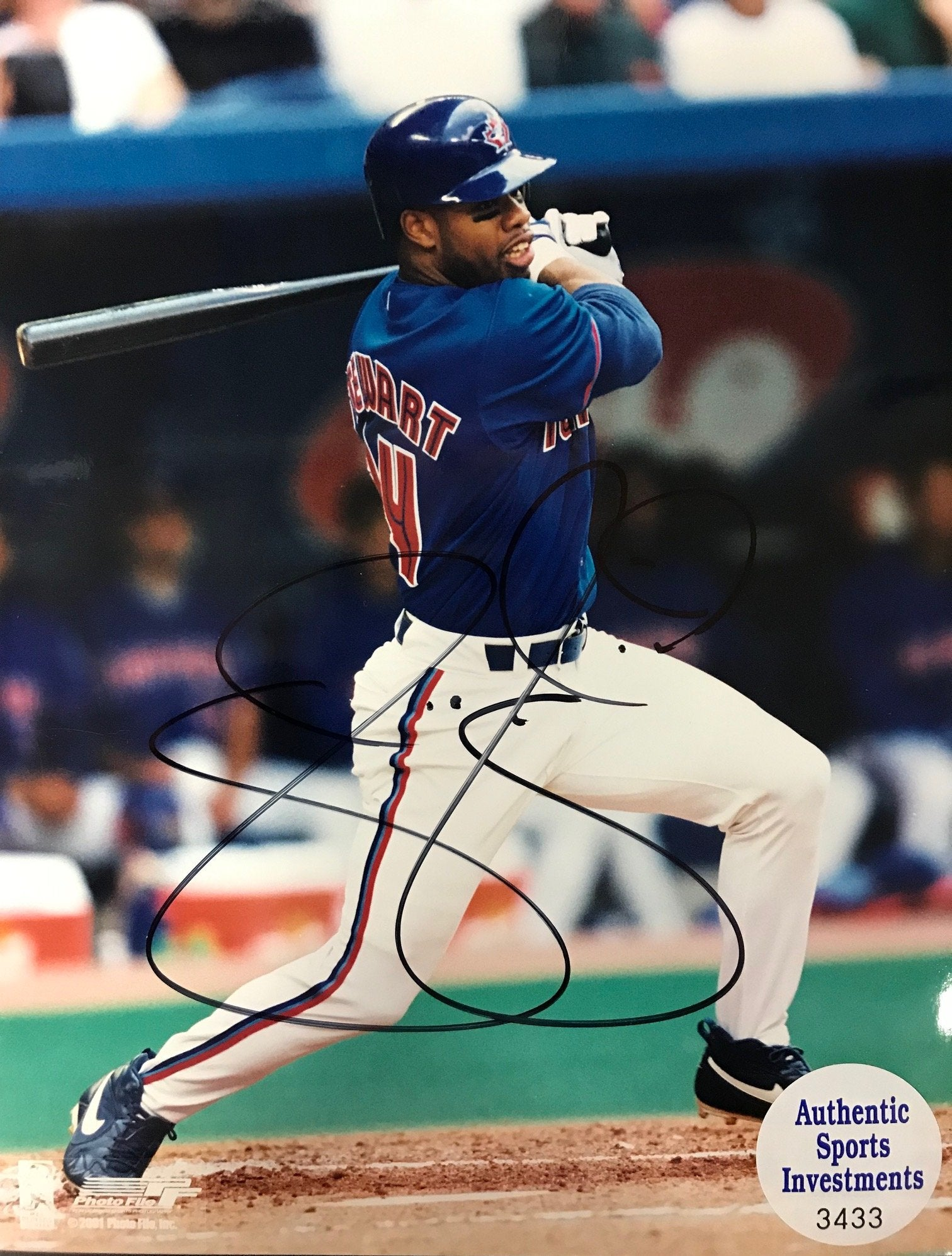 Shannon Stewart Autographed 8x10 Photo Toronto Blue Jays PSM-Powers Sports Memorabilia