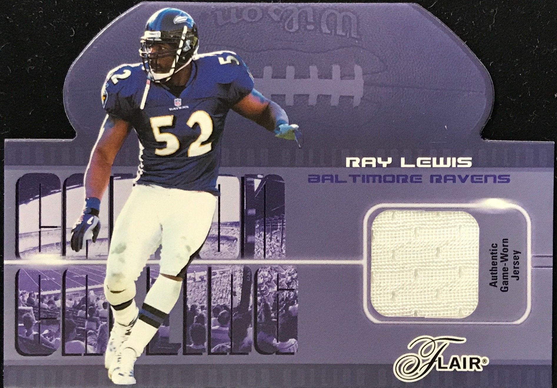 Ray Lewis Unsigned 2003 Fleer Game Worn Jersey Card PSM-Powers Sports Memorabilia