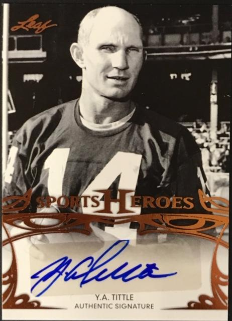 Y.A. Tittle Autographed 2013 Leaf Sports Hero Card PSM-Powers Sports Memorabilia