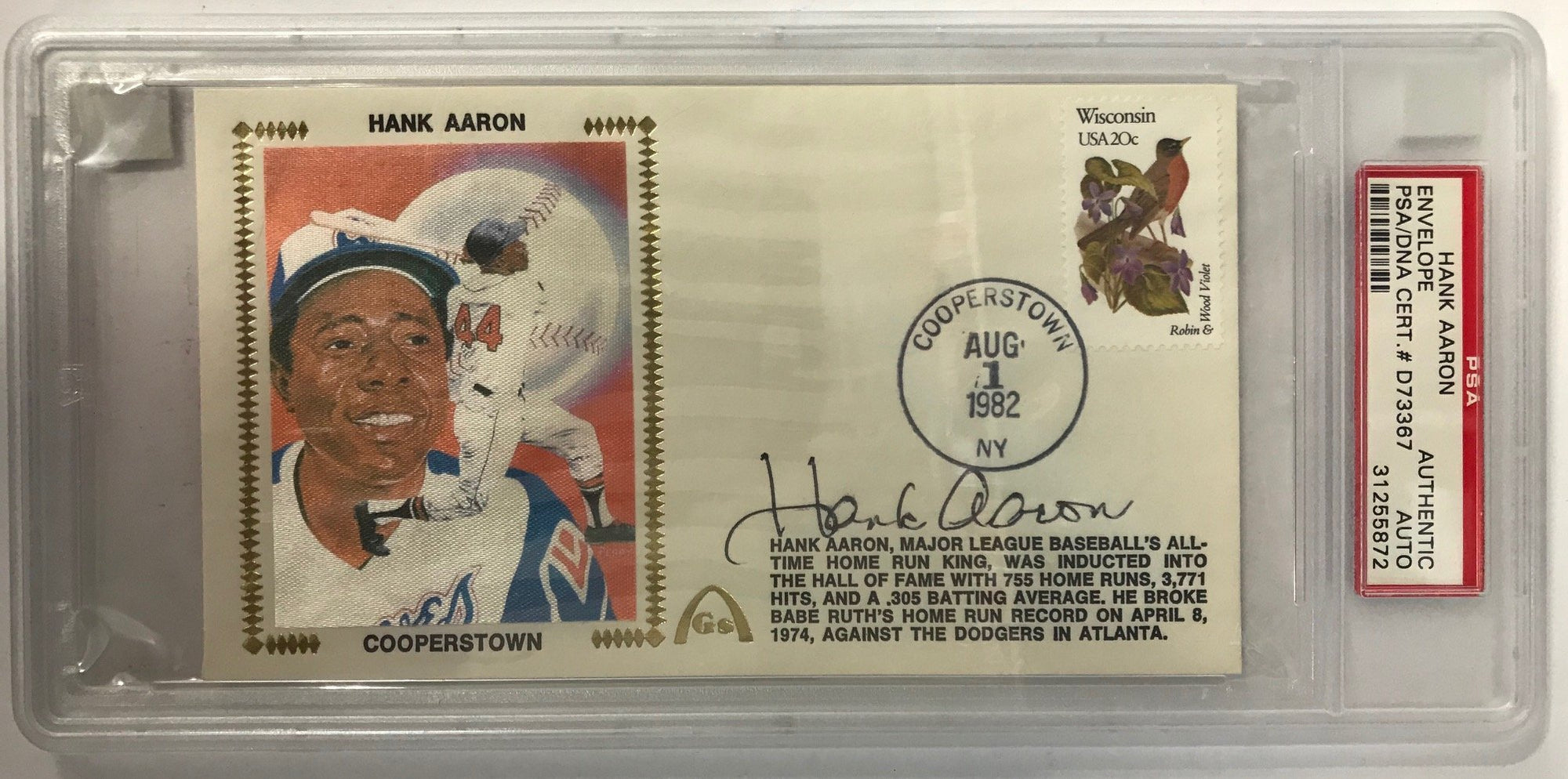 Hank Aaron Autographed Gateway First Day Cover (PSA) Slabbed PSM-Powers Sports Memorabilia