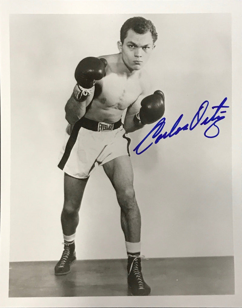 Carlos Ortiz Autographed 8x10 Black and White Boxing Photo PSM-Powers Sports Memorabilia
