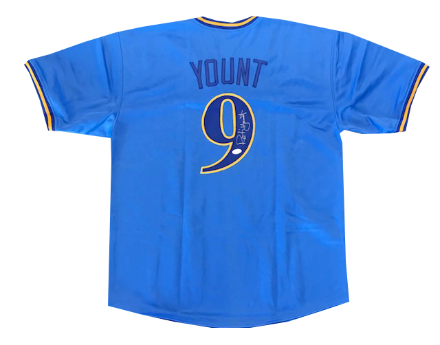 Robin Yount Autographed Milwaukee Brewers Throwback Jersey (JSA) PSM-Powers Sports Memorabilia