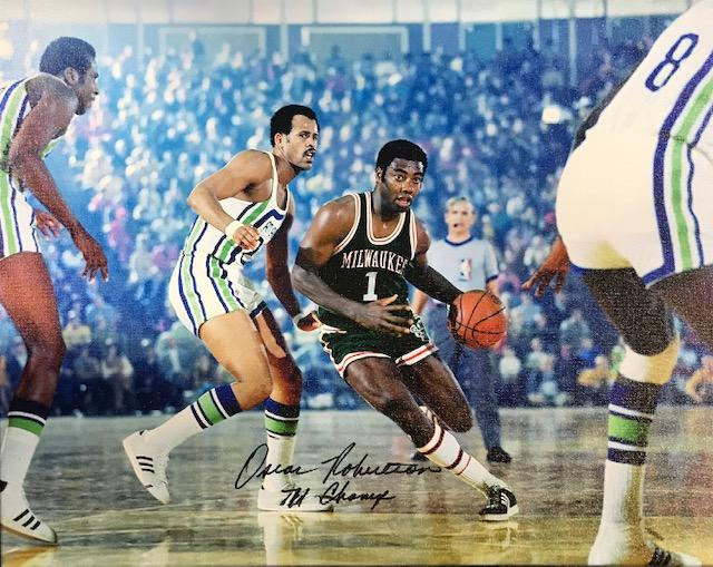 "Oscar Robertson ""71 Champs"" Autographed 16x20 Stretched Canvas PSM-Powers Sports Memorabilia"