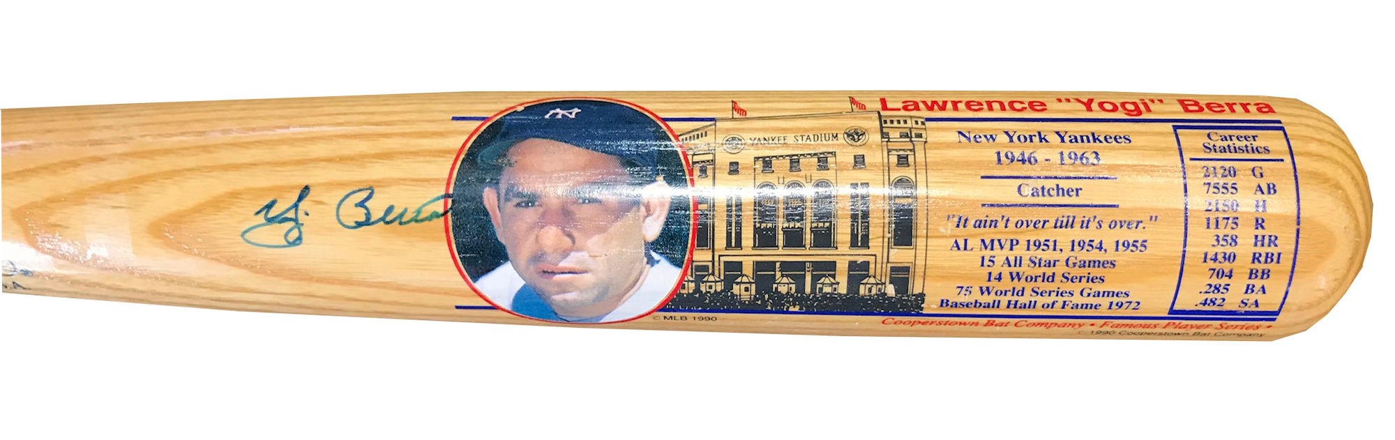 Yogi Berra Autographed Career Stat Cooperstown Bat (JSA) PSM-Powers Sports Memorabilia