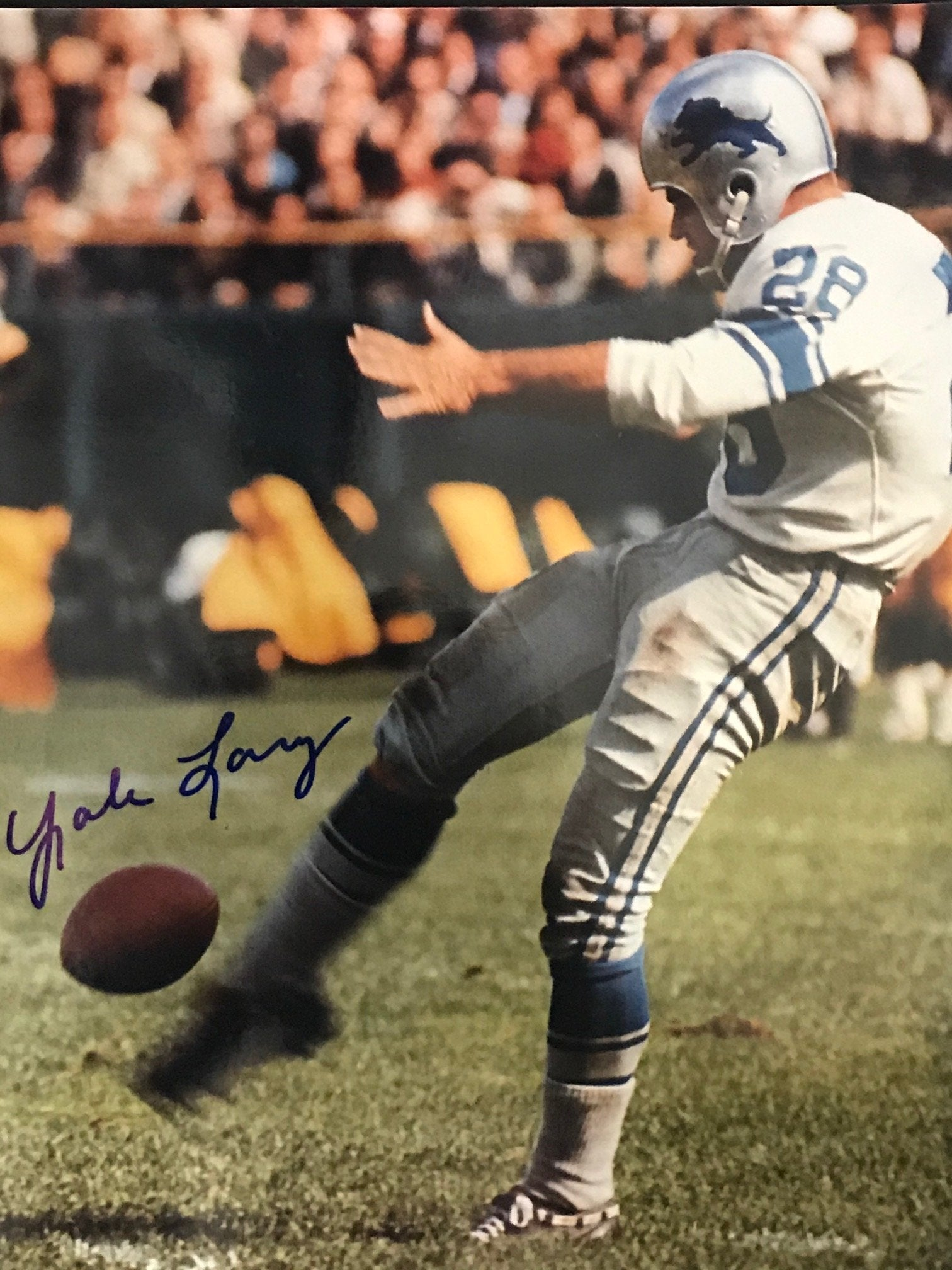 Yale Lary Autographed 8x10 Football Photo PSM-Powers Sports Memorabilia