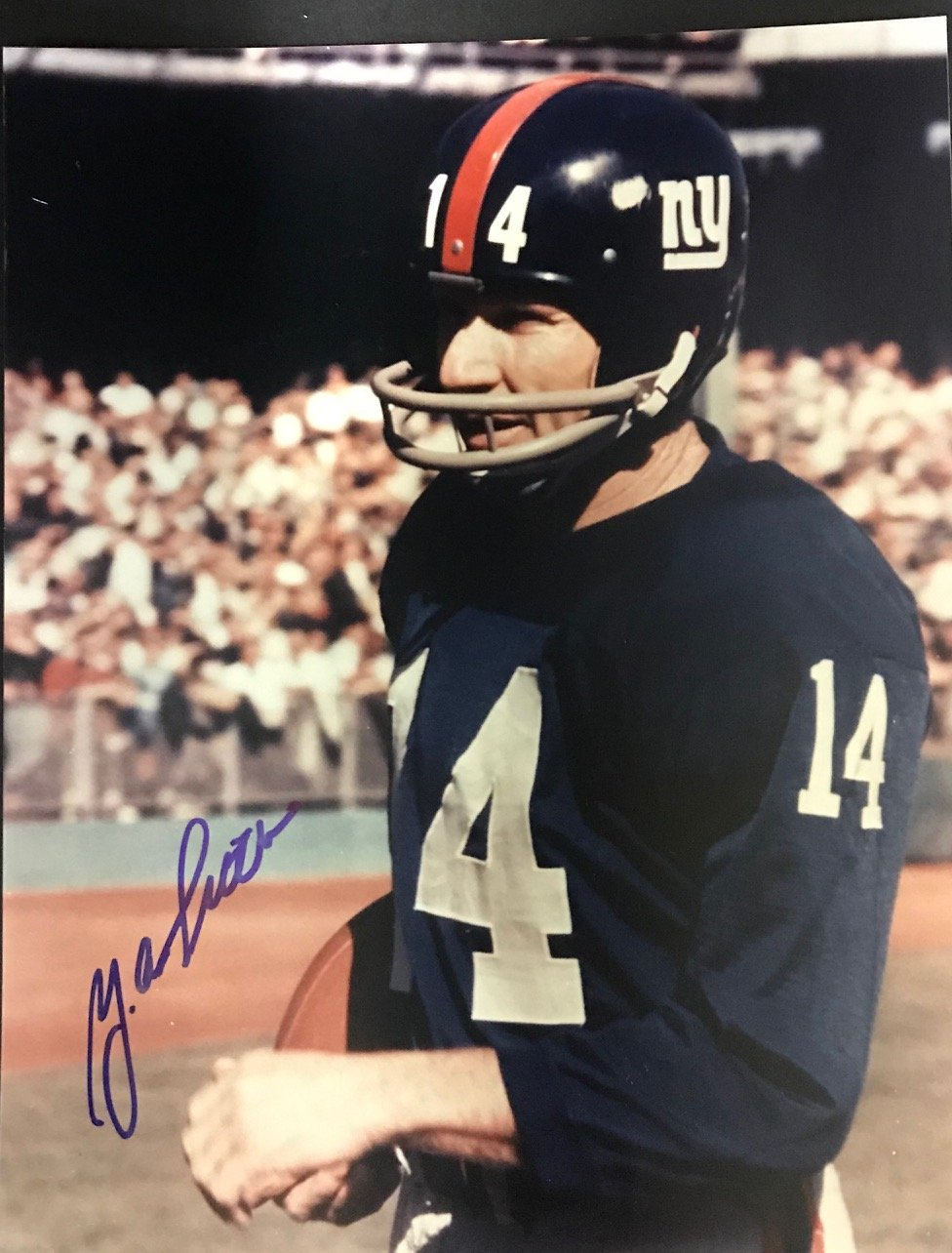 Y.A. Tittle Autographed 8x10 Football Photo PSM-Powers Sports Memorabilia