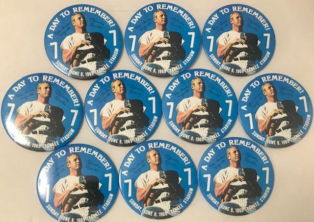 "(10) Mickey Mantle ""A Day To Remember"" 1969 4"" Button Pin Lot PSM-Powers Sports Memorabilia"