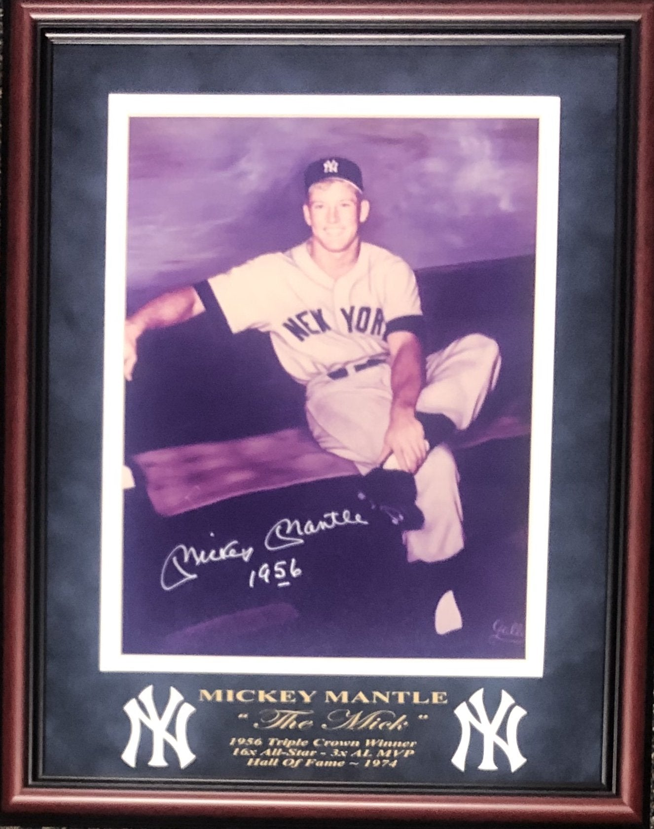 "Mickey Mantle ""1956"" Autographed Framed 11x14 Original Gallo Photo (JSA) PSM-Powers Sports Memorabilia"