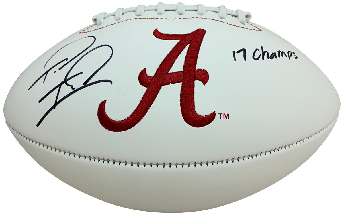 Tua Tagovailoa Autographed Alabama Crimson Tide Signed White Panel Logo Football 2017 CHAMPS Fanatics Authentic COA-Powers Sports Memorabilia