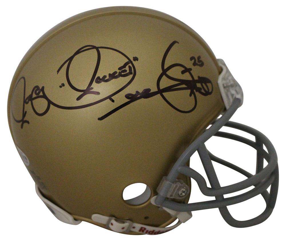 Raghib Rocket Ismail Autographed Notre Dame Fighting Irish Mini Helmet BAS PSM