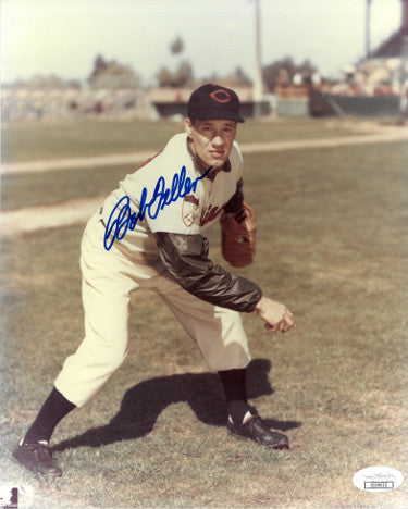Bob Feller signed Cleveland Indians 8x10 Color Photo- JSA Hologram (Vertical-Pitching) PSM-Powers Sports Memorabilia