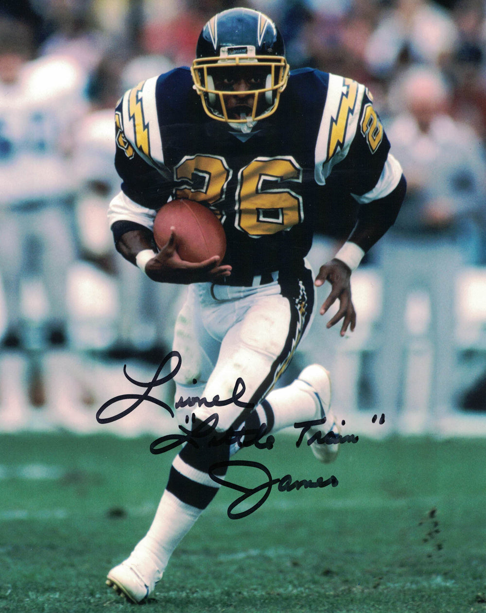 Lionel Little Train James Autographed/Signed San Diego Chargers 8x10 Photo PSM-Powers Sports Memorabilia