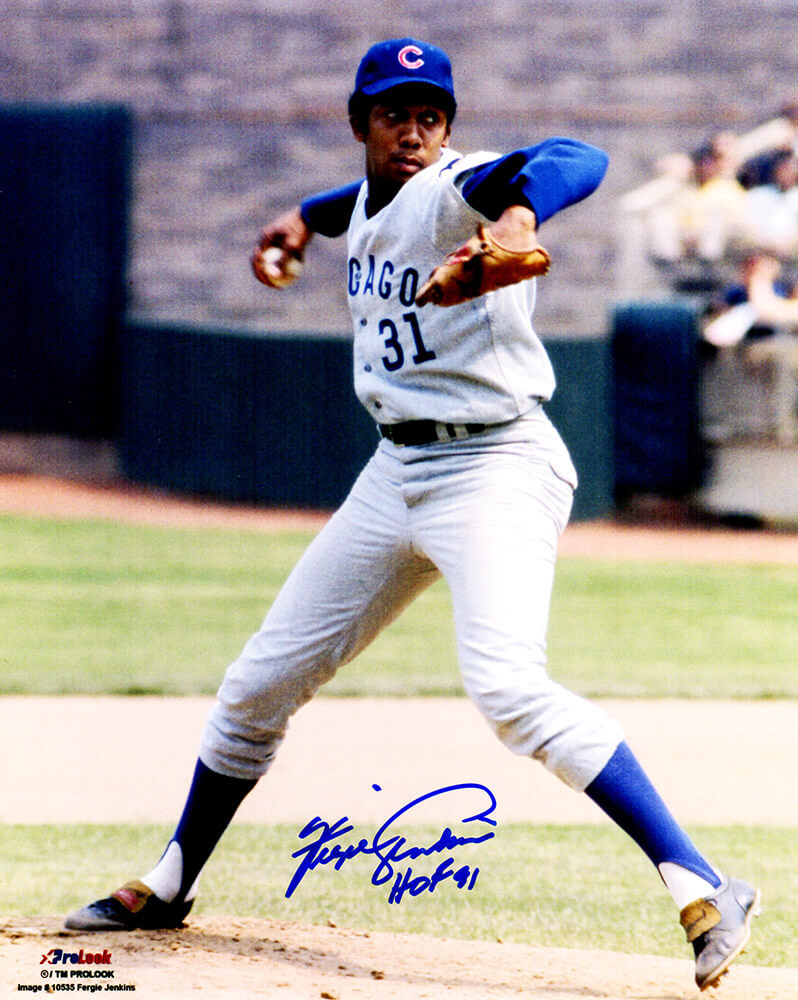 Fergie Jenkins Signed Chicago Cubs Grey Jersey Pitching 8x10 Photo w/HOF'91 PSM