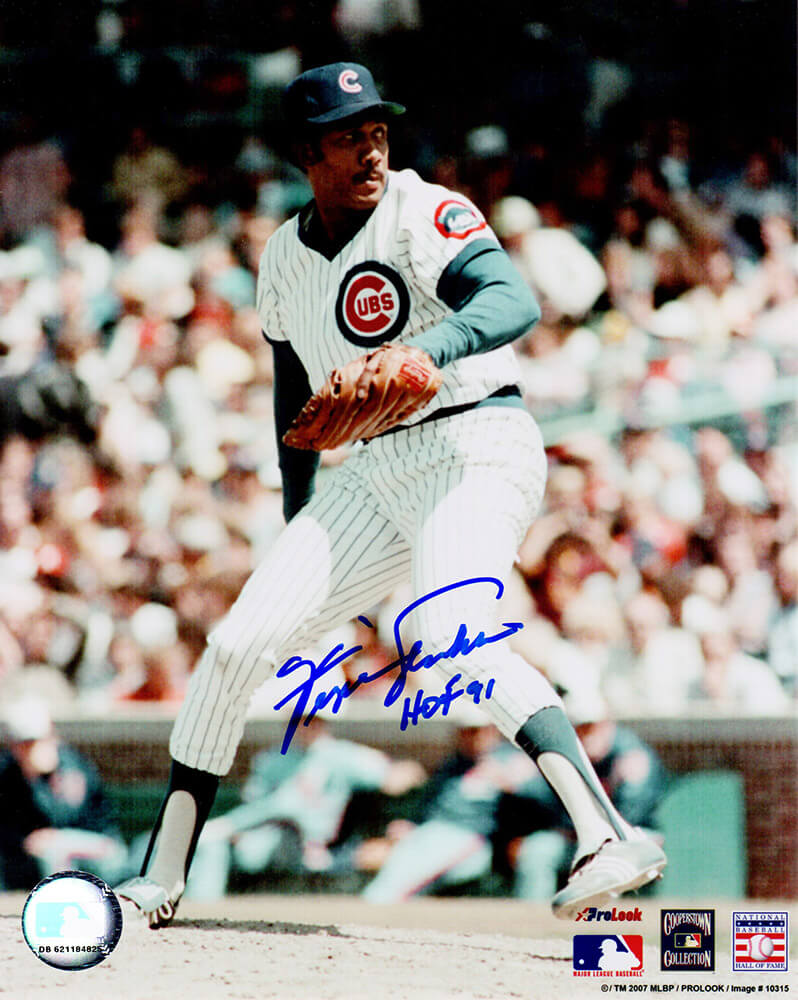 Fergie Jenkins Signed Chicago Cubs White Jersey Pitching Windup 8x10 Photo w/HOF'91 PSM
