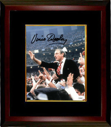 Vince Dooley signed Georgia Bulldogs 8x10 Photo Custom Framing- JSA Hologram (1980 National Champs Carry Off) PSM-Powers Sports Memorabilia