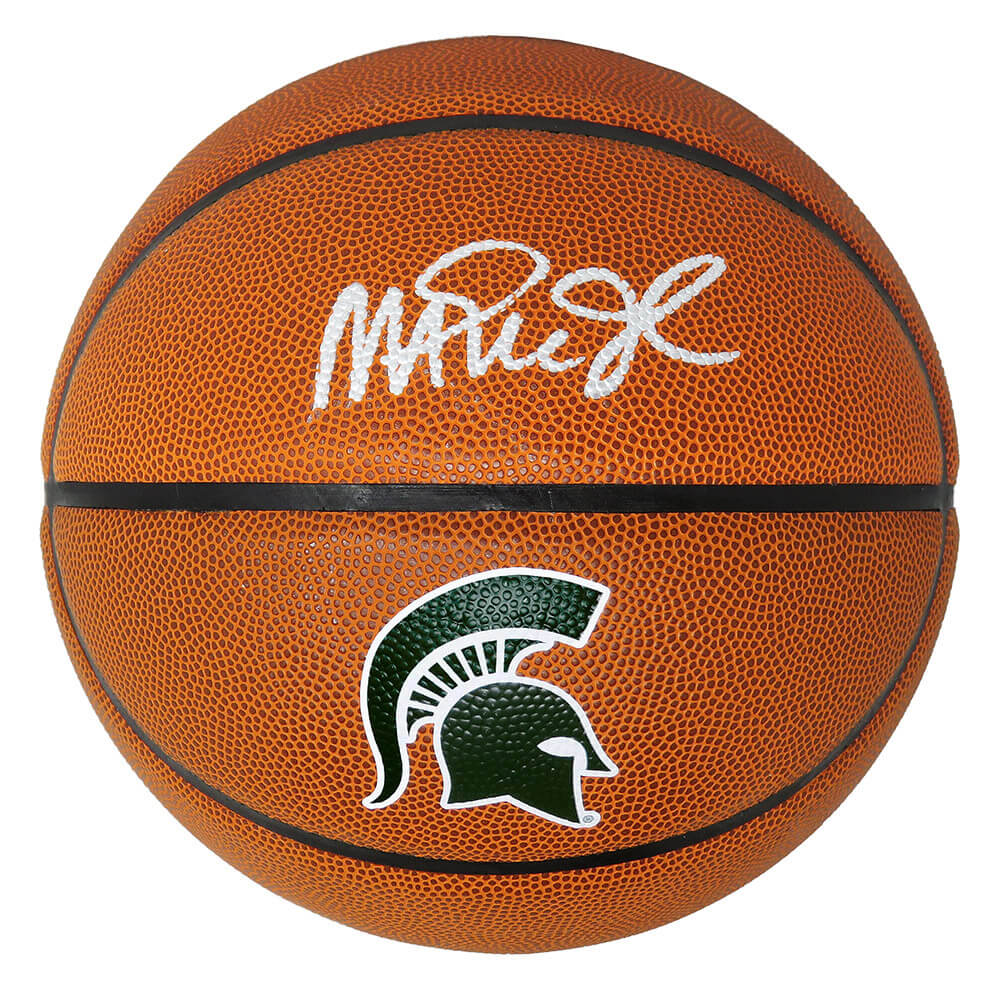 Magic Johnson Signed Michigan State Spartans Baden Brown Logo Basketball PSM-Powers Sports Memorabilia