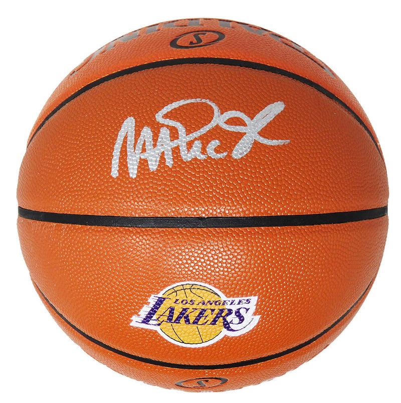 Magic Johnson Signed Spalding Los Angeles Lakers Logo Game Series Replica NBA Basketball PSM-Powers Sports Memorabilia