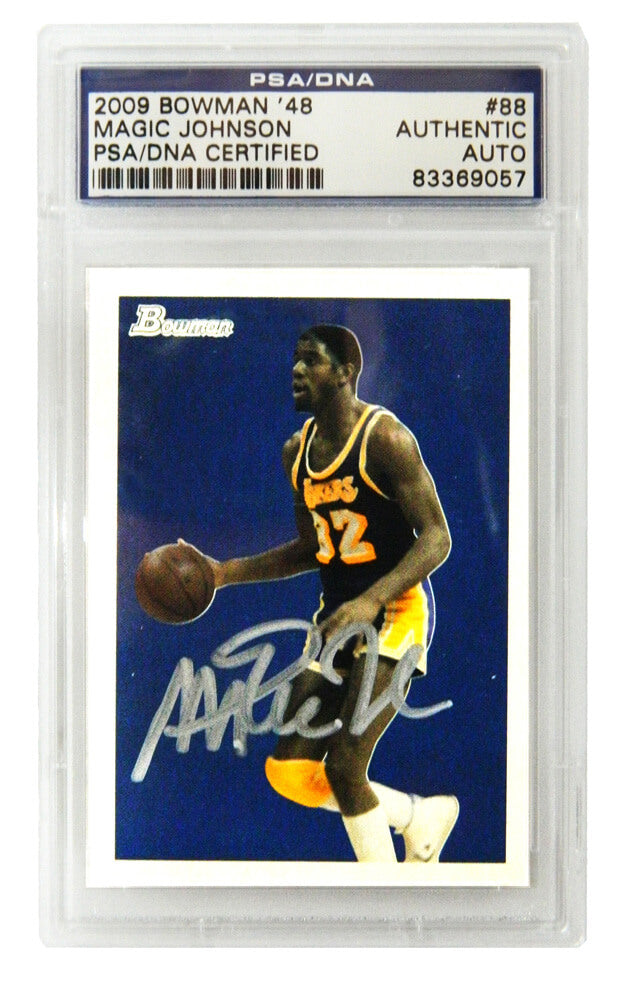 Magic Johnson Signed Los Angeles Lakers 2009 Bowman Trading Card #88 - (PSA Encapsulated) PSM-Powers Sports Memorabilia