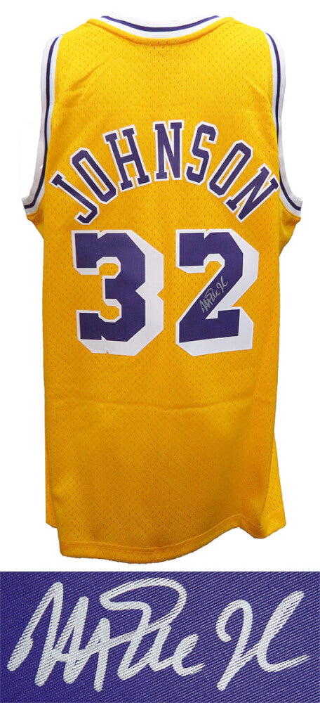 Magic Johnson Signed Los Angeles Lakers Gold Mitchell & Ness NBA Swingman Basketball Jersey PSM-Powers Sports Memorabilia