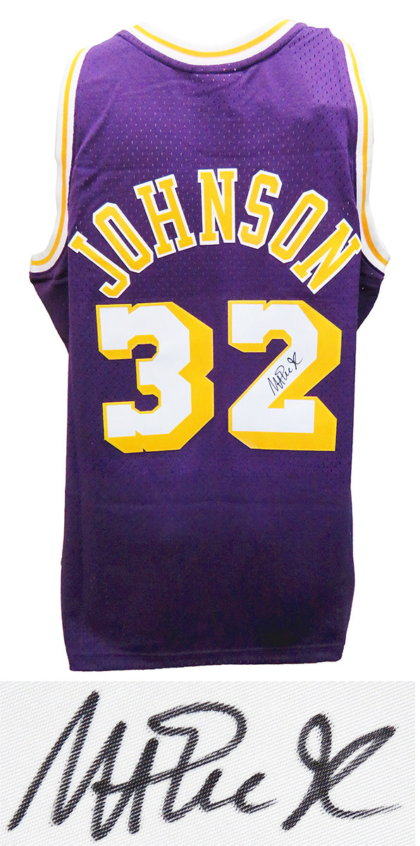 Magic Johnson Signed Los Angeles Lakers Purple Mitchell & Ness NBA Swingman Basketball Jersey PSM-Powers Sports Memorabilia