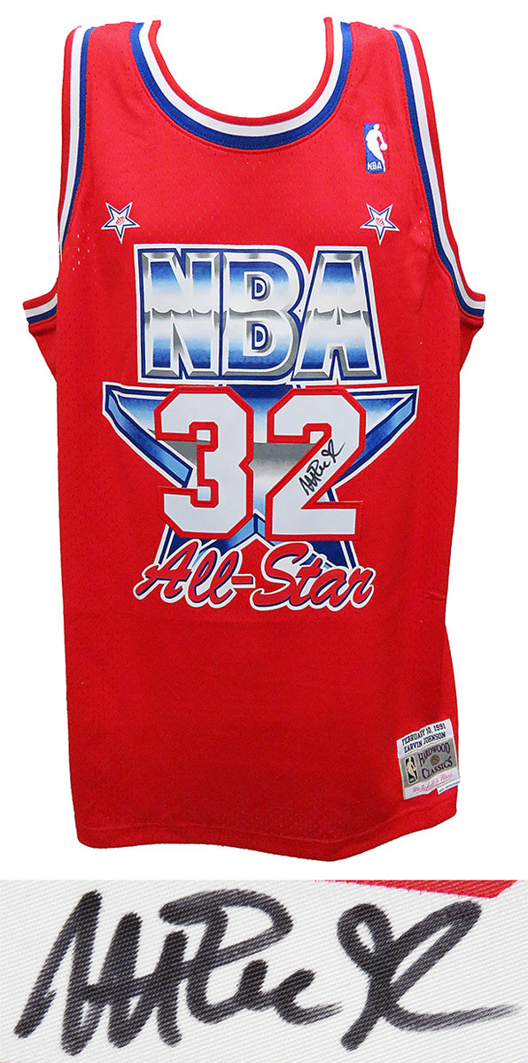 Magic Johnson Signed 1991 All Star Game Official Mitchell & Ness Red Throwback Swingman Jersey PSM-Powers Sports Memorabilia