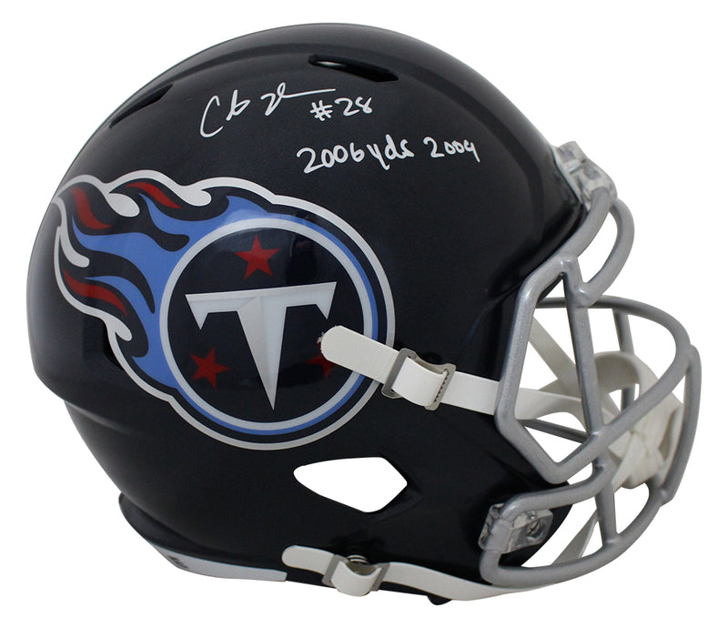 Chris Johnson Signed Tennessee Titans Speed Replica Helmet 2006 Yds JSA PSM-Powers Sports Memorabilia