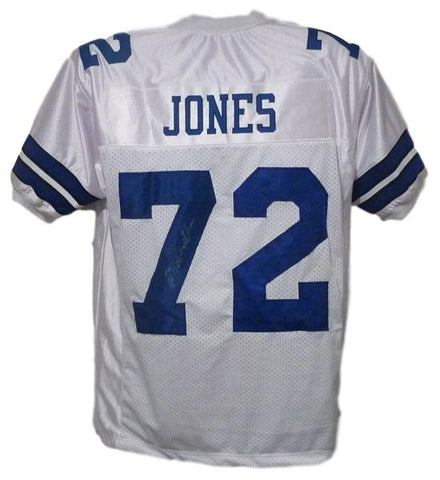 Ed Too Tall Jones Autographed Dallas Cowboys White Size XL Jersey PSM-Powers Sports Memorabilia