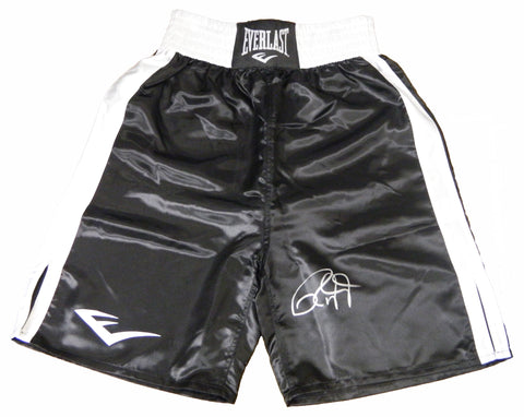 Roy Jones Jr Signed Everlast Black Boxing Trunks PSM-Powers Sports Memorabilia