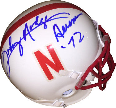 Johnny Rodgers signed Nebraska Cornhuskers Authentic Schutt Mini Helmet Heisman 72- JSA Hologram #CC09404 PSM-Powers Sports Memorabilia