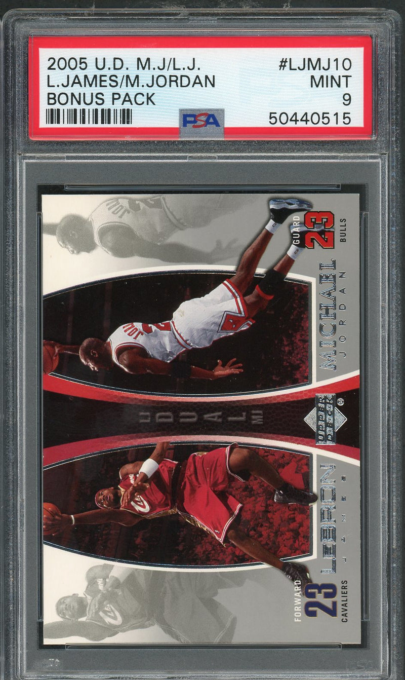 LeBron James Michael Jordan 2005 Upper Deck Bonus Pack Basketball Card #LJMJ10 Graded PSA 9 MINT-Powers Sports Memorabilia