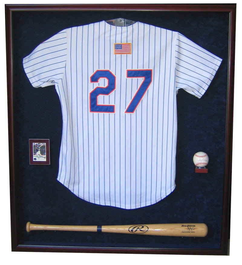 JERSEY, BAT, BALL AND CARD DISPLAY CASE-Powers Sports Memorabilia