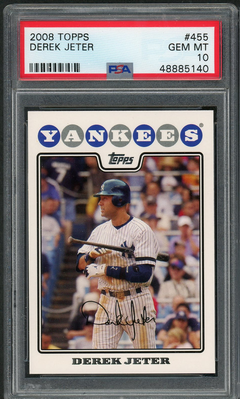 Derek Jeter New York Yankees MLB 2008 Topps Baseball Card #455 Graded PSA 10 GEM MINT-Powers Sports Memorabilia