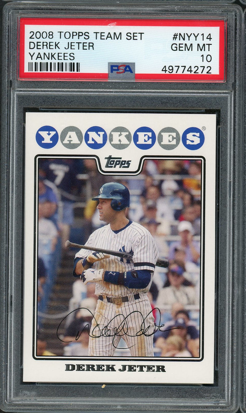 Derek Jeter New York Yankees MLB 2008 Topps Team Set Baseball Card #NYY14 Graded PSA 10 GEM MINT-Powers Sports Memorabilia