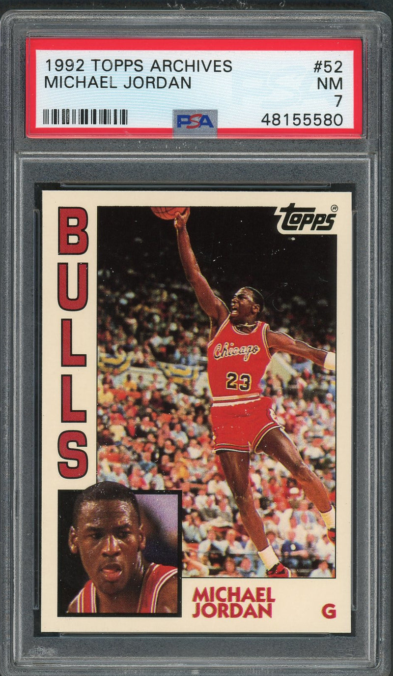 Michael Jordan Chicago Bulls 1992 Topps Archives Basketball Card #52 Graded PSA 7-Powers Sports Memorabilia