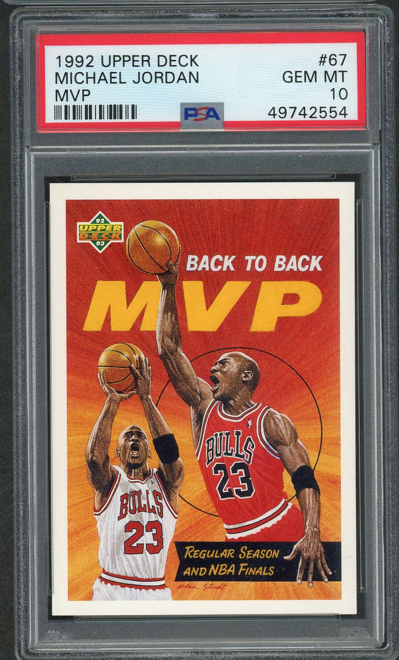 Michael Jordan Chicago Bulls 1992 Upper Deck MVP Basketball Card #67 Graded PSA 10 GEM MINT-Powers Sports Memorabilia