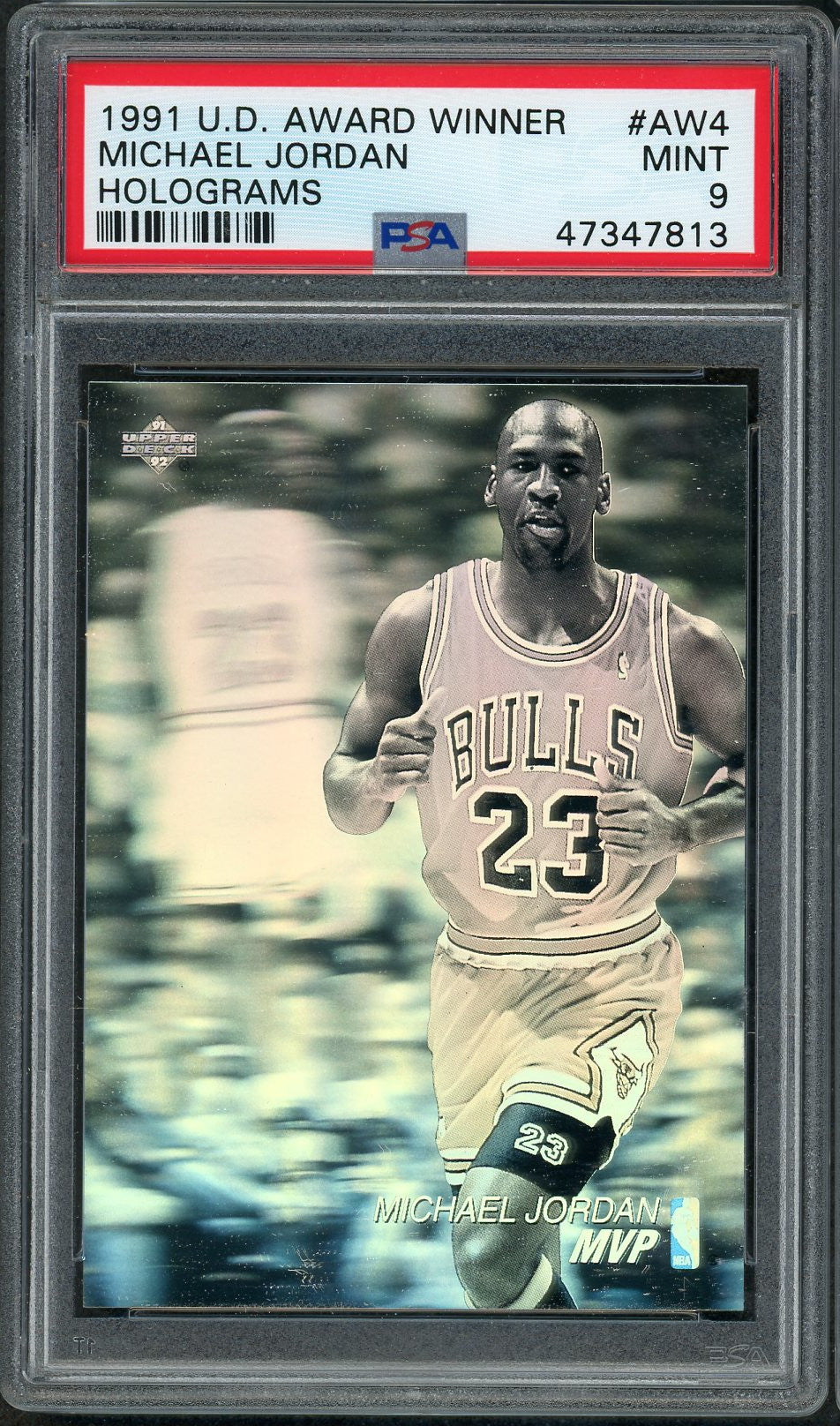 Michael Jordan Chicago Bulls 1991 Upper Deck MVP Award Winner Holograms Basketball Card #AW4 PSA 9 MINT-Powers Sports Memorabilia