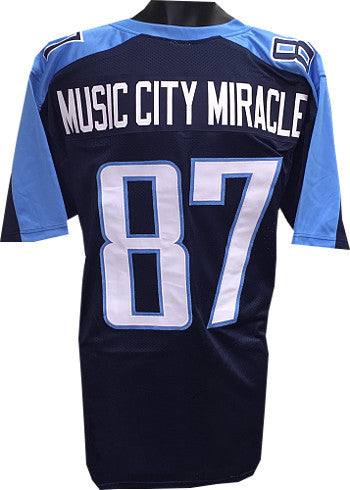 Music City Miracle Navy Blue TB Custom Stitched Pro Style Football Jersey XL (Kevin Dyson #87) PSM-Powers Sports Memorabilia
