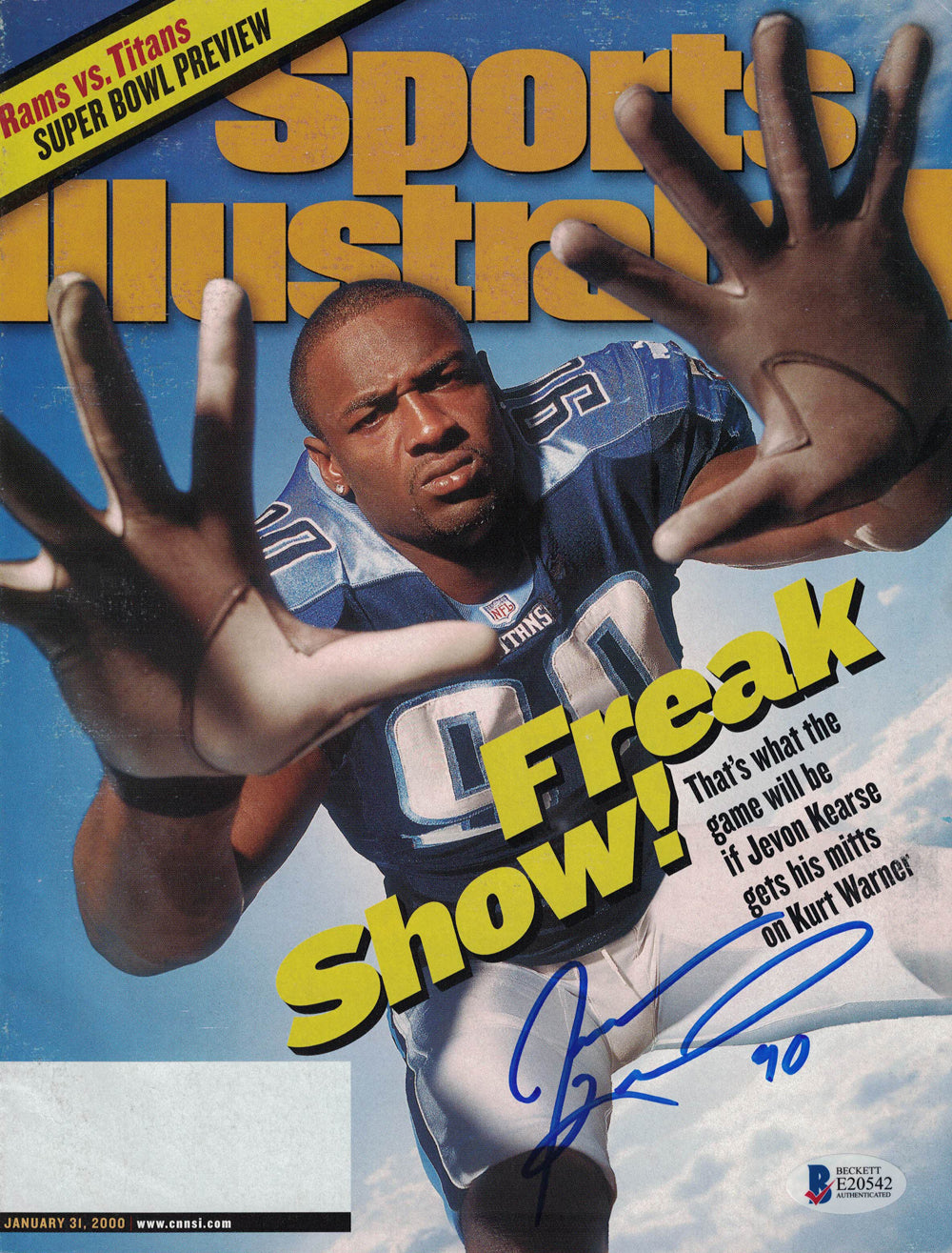 Jevon Kearse Signed Tennessee Titans Sports Illustrated 1/31/2000 BAS PSM
