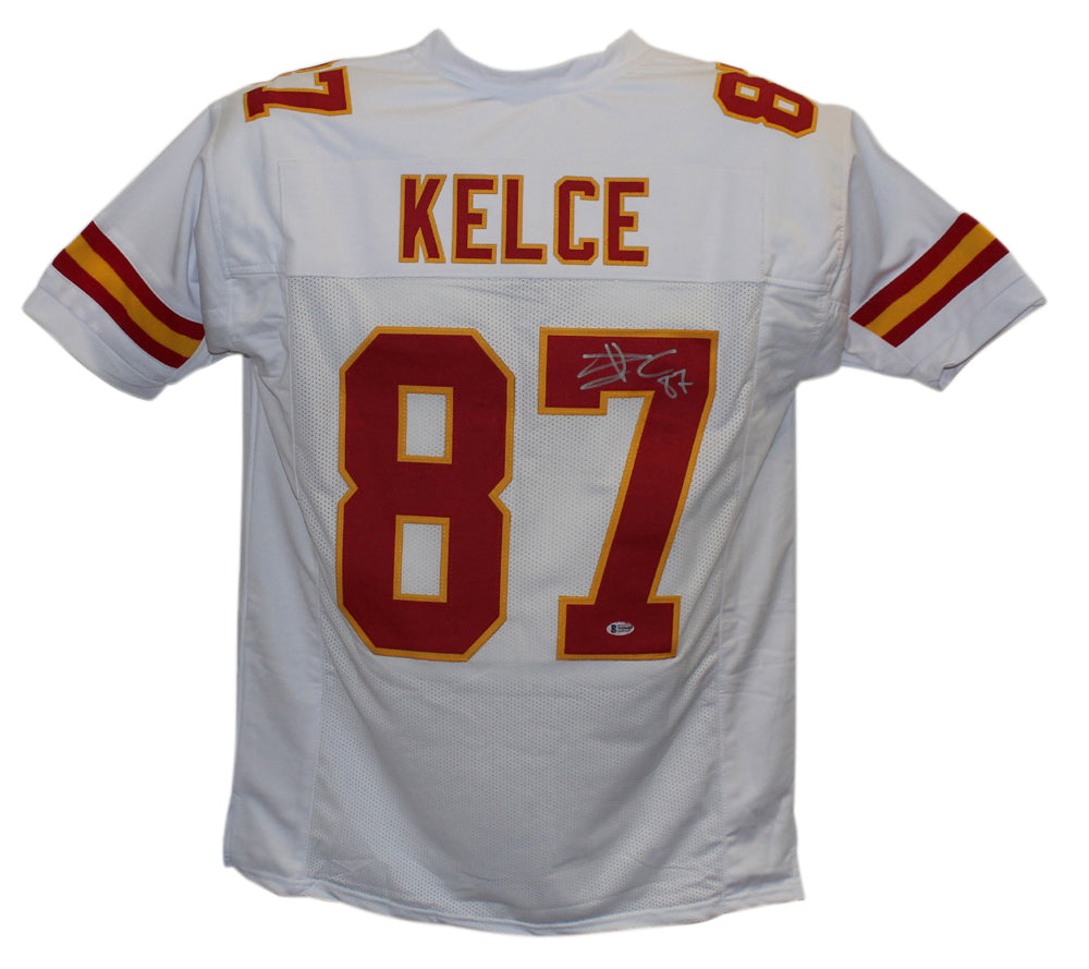 Travis Kelce Autographed/Signed Kansas City Chiefs White XL Jersey BAS PSM-Powers Sports Memorabilia